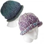 Rolled brim hand knit hats