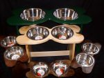Pet Bowl Holders in various sizes and heights.